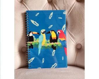 Parrot & Toucan Notebook, Defect, Misprint, Lined Notebook, Spiral A5 Notebook, Animal Notebook,