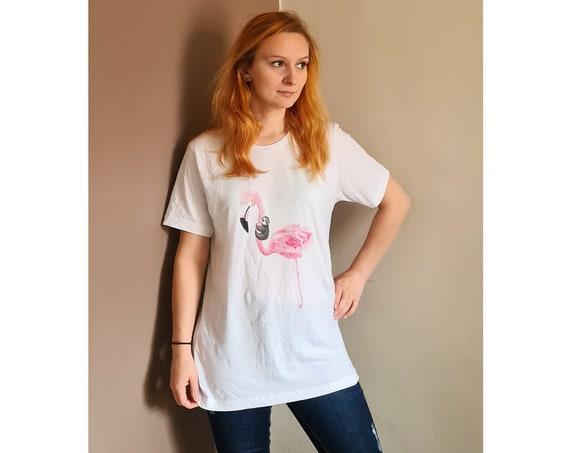 Flamingo & Sloth Unisex T-Shirt, Size Medium