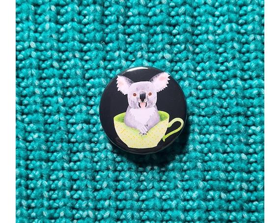 Koala 38mm Button Badge, Pin Badge, Badge, Button Badge, Koala, Koala Pin badge, Koala Badge, Koala Button Badge