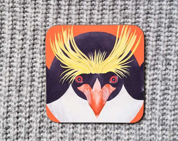 Macaroni Penguin Coaster, Coaster, Drinks Coaster, Gifts for him, Gifts for her, Birthday Present, House Warming Present, Animal Coasters