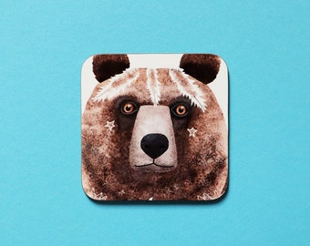 Grizzly Bear Coaster, Coaster, Drinks Coaster, Gifts for him, Gifts for her, Birthday Present, House Warming Present, Animal Coasters, Bear
