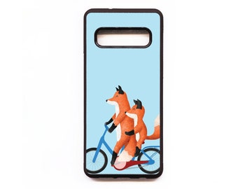 Foxes On Bicycle Phone Case, Fox Samsung phone Case,  Animal Phone Case