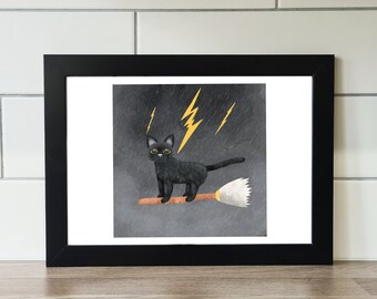 Cat On Broomstick Print, Cat, A6 Print, A5 Print, A4 Print, A3 Print, Wall Art, Wall Print, Illustration, Art Print by Rachel Gwen May