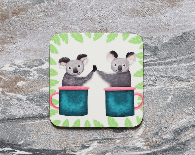 Koalas In Mugs Coaster, Coaster, Drinks Coaster, Gifts for him, Gifts for her, Birthday Present, House Warming Present, Animal Coasters