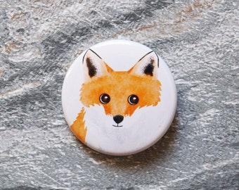 Fox 38mm Button Badge, Pin Badge, Badge, Button Badge, Fox, Fox Pin badge, Fox Badge, Fox Button Badge