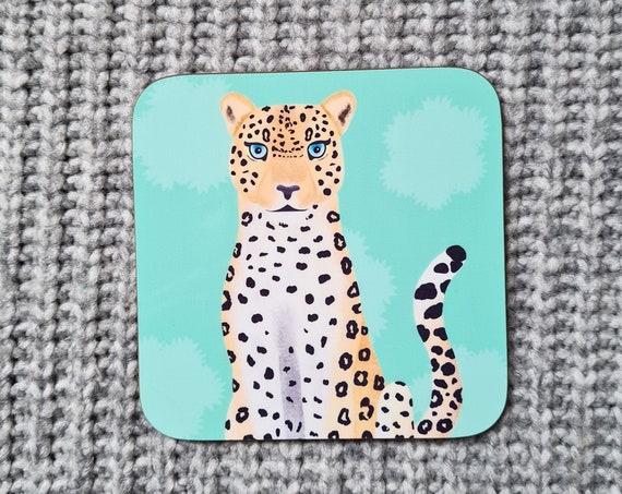 Leopard Coaster, Coaster, Drinks Coaster, Gifts for him, Gifts for her, Birthday Present, House Warming Present, Animal Coasters, Cat
