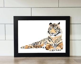 Tiger Print, Tiger, A6 Print, A5 Print, A4 Print, A3 Print, Wall Art, Wall Print, Illustration, Art Print by Rachel Gwen May