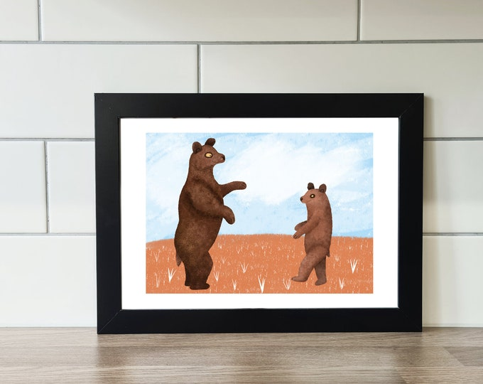 Bear Print, Grizzly Bear, A6 Print, A5 Print, A4 Print, A3 Print, Wall Art, Wall Print, Illustration, Art Print by Rachel Gwen May