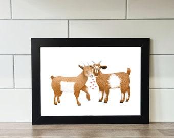 Goat Print, Goat, A6 Print, A5 Print, A4 Print, A3 Print, Wall Art, Wall Print, Illustration, Art Print by Rachel Gwen May