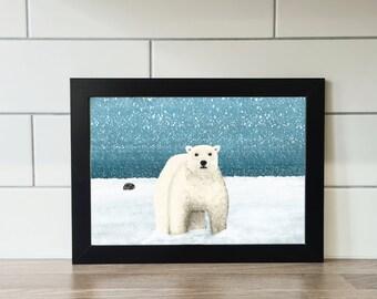 The Artic Print, Polar Bear, Seal, A6 Print, A4 Print, Wall Art, Wall Print, Illustration, Art Print by Rachel Gwen May