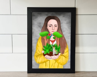 The Jungle Is In Our Hands Print, A6 Print, A4 Print, Wall Art, Wall Print, Illustration, Art Print by Rachel Gwen May