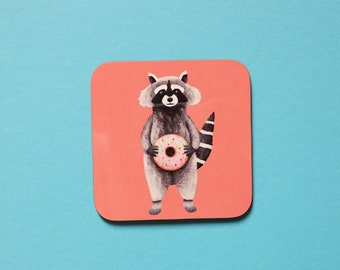 Raccoon Coaster, Coaster, Drinks Coaster, Gifts for him, Gifts for her, Birthday Present, House Warming Present, Animal Coaster, Raccoon