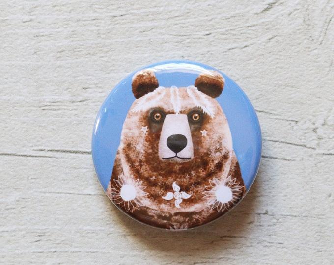 Bear 38mm Button Badge, Pin Badge, Badge, Button Badge, Grizzly Bear, Bear Pin badge, Bear Badge, Bear Button Badge