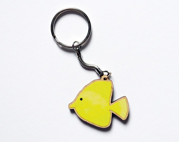Wooden Yellow Tang Keyring, Animal Key Ring, Key Chain