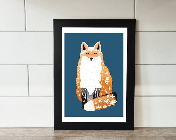 Fox Print, Fox, A6 Print, A5 Print, A4 Print, A3 Print, Wall Art, Wall Print, Illustration, Art Print by Rachel Gwen May