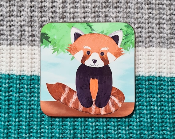 Red Panda Coaster, Coaster, Drinks Coaster, Gifts for him, Gifts for her, Birthday Present, House Warming Present, Animal Coaster, Red Panda