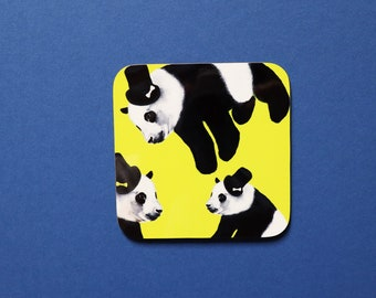 Panda Coaster, Coaster, Drinks Coaster, Gifts for him, Gifts for her, Birthday Present, House Warming Present, Animal Coasters, Panda