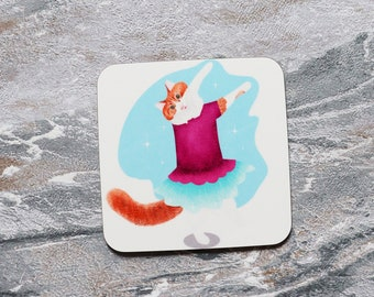 Cat Ballet Coaster, Coaster, Drinks Coaster, Gifts for him, Gifts for her, Birthday Present, House Warming Present, Animal Coasters, Cat