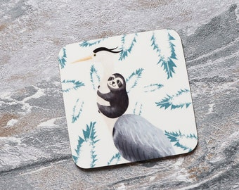 Heron and Sloth Coaster, Coaster, Drinks Coaster, Gifts for her, Birthday Present, House Warming Present, Animal Coasters, Sloth