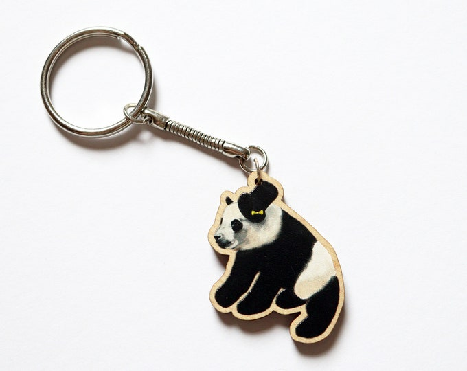Wooden Panda Keyring, Animal Key Ring, Key Chain