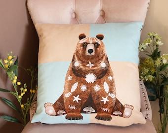 Grizzly Bear Cushion Cover, Vegan-Suede Cushion, Animal Cushion, Bear Cushion Cover
