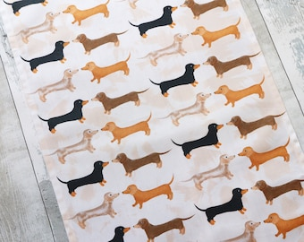 Dachshund Tea Towel, Animal Tea Towel, Tea Towel, Organic Cotton Tea Towel, Dog Tea Towel