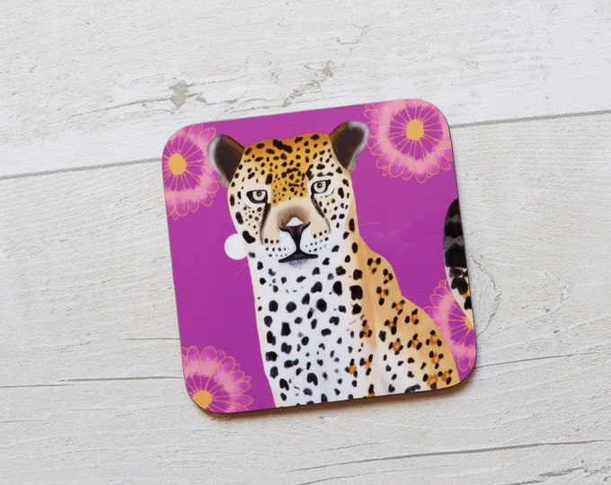 Leopard Coaster, Coaster, Drinks Coaster, Gifts for him, Gifts for her, Birthday Present, House Warming Present, Animal Coasters, Leopard