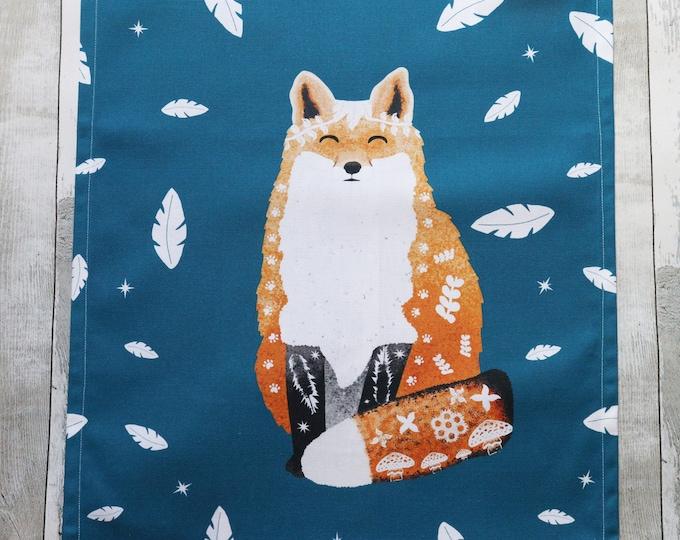 Fox Tea Towel, Animal Tea Towel, Tea Towel, Organic Cotton Tea Towel