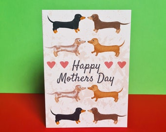 Dachshund Mothers Day Card, Mothers Day Card, Misprint, Defect, As is, A6 in size (approx 105 x 148mm), Includes Envelope
