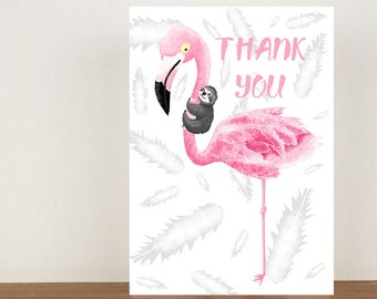 Flamingo and Sloth Thank You Card, Thank You Card, Animal Card, Sloth Card, Flamingo Card, A6 in size (approx 105 x 148mm) Includes Envelope