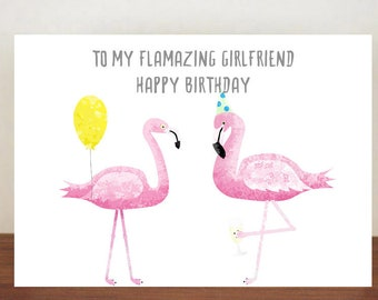 To My Flamazing Girlfriend Boyfriend Happy Birthday Card Greeting Flamingo