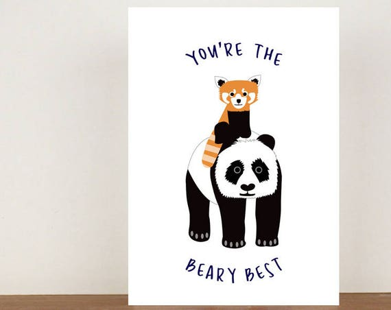You're the beary best, Congratulations, Panda Card, Animal Card, Well Done Card, New Job Card, Achievement Card, Red Panda