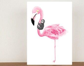 Flamingo and Sloth Greeting Card, Card, Greeting Card, Birthday Card, Flamingo Card, Flamingo, Friend Card, Sloth Card