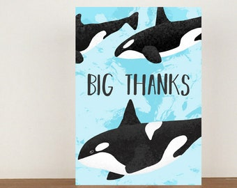 Big Thanks Card, Thank You Card, Animal Card, Thanks Card, Orca Card, A6 in size (approx 105 x 148mm), Includes Envelope