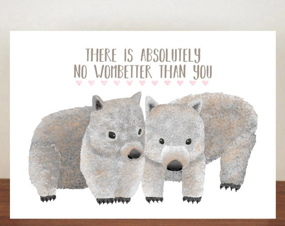 There Is Absolutely No Wombetter Than You Anniversary Card, Greeting Cards, Valentines Card, Whale Card, Happy Valentines Day, Love Card
