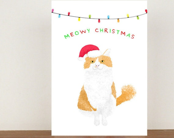 Meowy Christmas Card, Ginger Cat, Cat cards, greeting cards, Christmas card, cats, cat Christmas card, Animal Christmas Cards