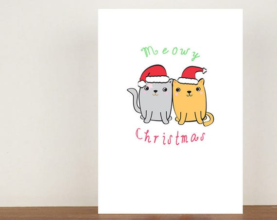 Meowy Christmas Card, Cat cards, Greeting Cards, Christmas card, Cats, Cat Christmas Card, Christmas, Animal Christmas Cards