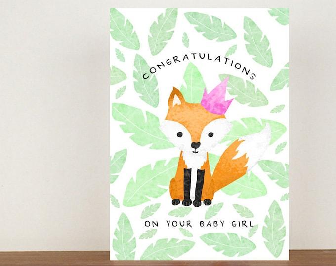 Congratulations On Your Baby Girl/Boy Fox Card, Congratulations Card, Congratulations, Card, Its A Girl, Its A Boy, Fox Card