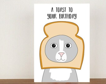 A Toast To Your Birthday Card, Birthday Card, Greeting Card, Birthday Card, Happy Birthday Card, Cute Cats, Cat Card, Cat Birthday Card
