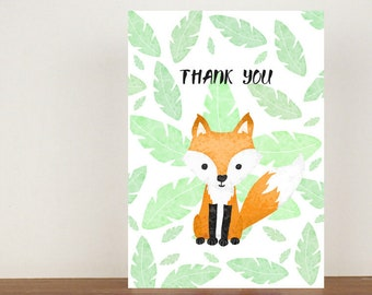 Fox Thank You Card, Thank You Card, Animal Card, Thanks Card, Fox Card, Congratulations, A6 in size (approx 105 x 148mm), Includes Envelope