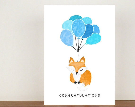 Congratulations Fox Card, Congratulations Card, Congratulations, Card, Its A Girl, Its A Boy, Fox Card