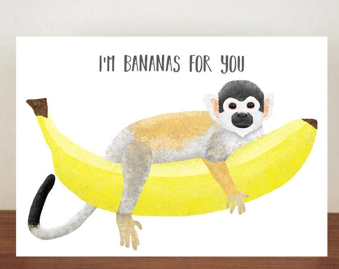 I'm Bananas For You Anniversary Card, Cards, Greeting Cards, Love, Valentines Card, Monkey Card, Love Card, Anniversary, Squirrel Monkey