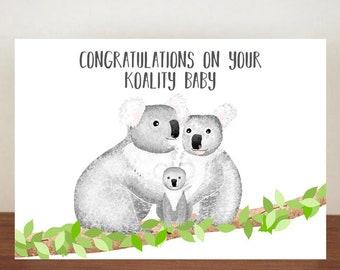 Congratulations On Your Koality Baby Card, Congratulations Card, Congratulations, Card, Its A Girl, Its A Boy, Koala, Koala Card