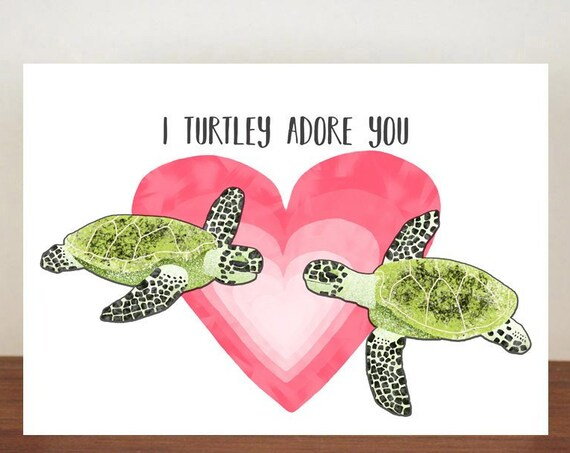 I Turtley Adore You Card, I Turtley Love You Card, Anniversary Card, Cards, Greeting Cards, Love, Valentines Card, Turtle card, Turtle