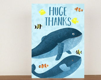 Huge Thanks Card, Thank You Card, Animal Card, Thanks Card, Whale Card, A6 in size (approx 105 x 148mm), Includes Envelope