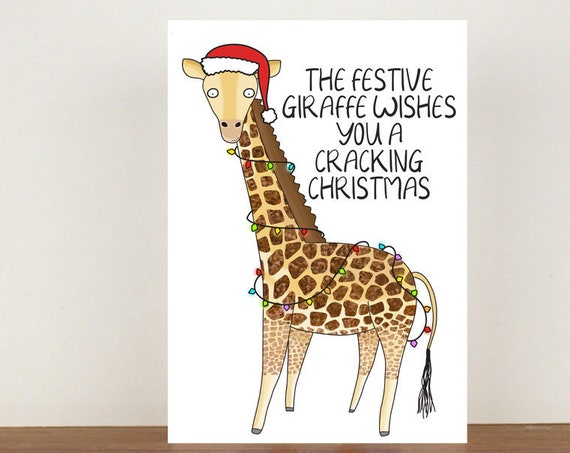 The Festive Giraffe Wishes You A Cracking Christmas, Card, Christmas Cards, Animal Christmas Cards, Giraffe Christmas Card, Giraffe Card
