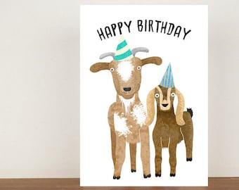 Happy Birthday, Card, Greeting Card, Birthday Card, Goat Card, Goat Birthday Card, Birthday