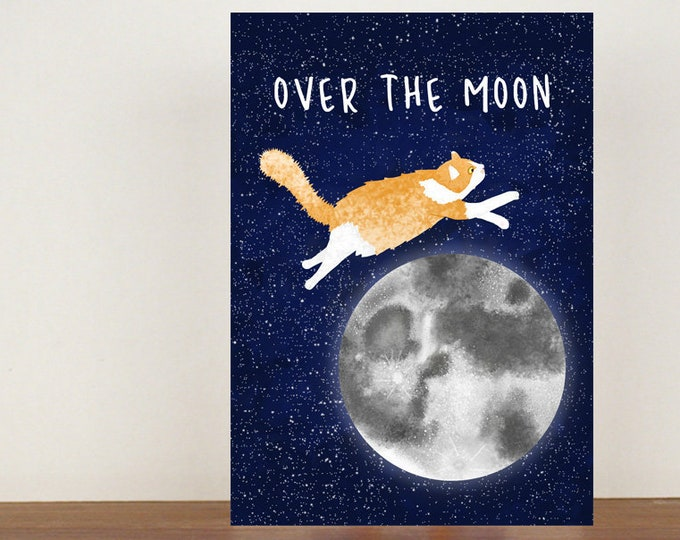 Over The Moon Card, Congratulations Card, Animal Card, Well Done Card, New Job Card, Achievement Card, Qualified, Cat Card