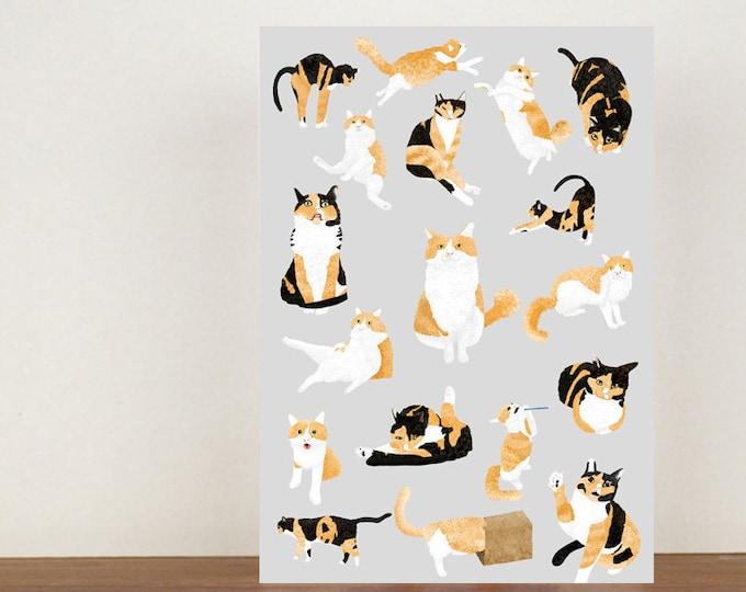Cat Poses card, birthday card, greeting card, girls birthday card, happy birthday card, cute cats, cat card