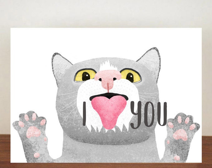 I Heart You Anniversary Card, cards, greeting cards, love, valentines card, cat card, happy valentines day, love card, cats, cat love card